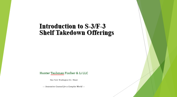 S-3/F-3 Shelf Takedown Offerings Presentation
